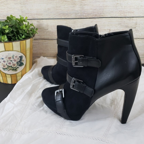 Sam & Libby Shoes - Sam & Libby Black 3 Buckle Dress Ankle Boots